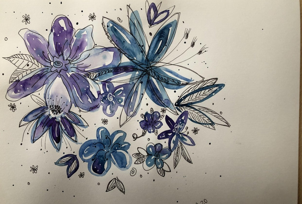 Ink & Watercolor Doodles - student project