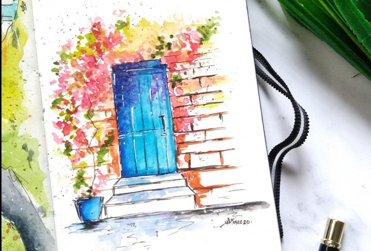 Final projects of Zaneena's class : Urban sketching for beginners - student project