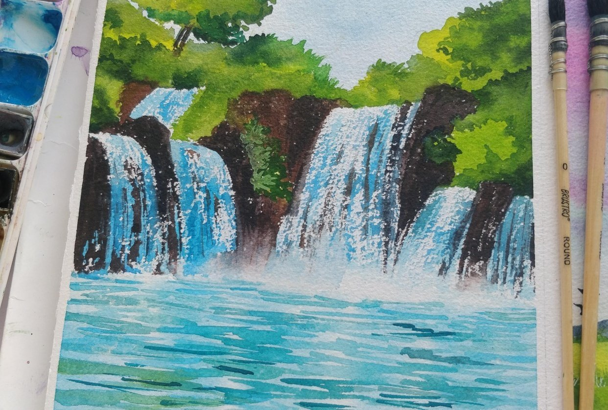 Watercolor waterfall - student project