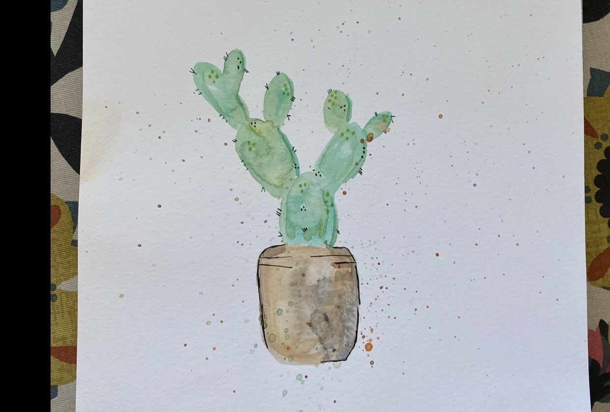 Watercolor cactus - student project