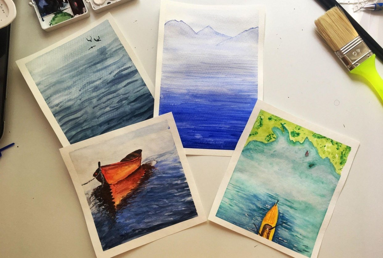 Watercolor seascapes - student project