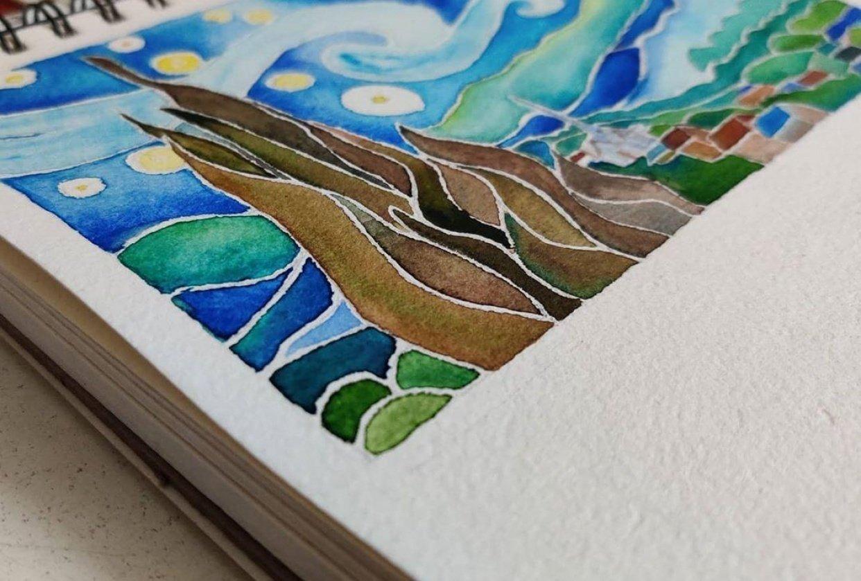 Recreating Van Gogh's 'Starry Night' - student project