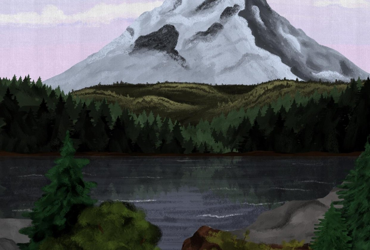 Mountain and lake - student project