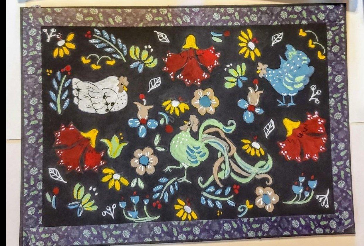 Gouache folk art - student project