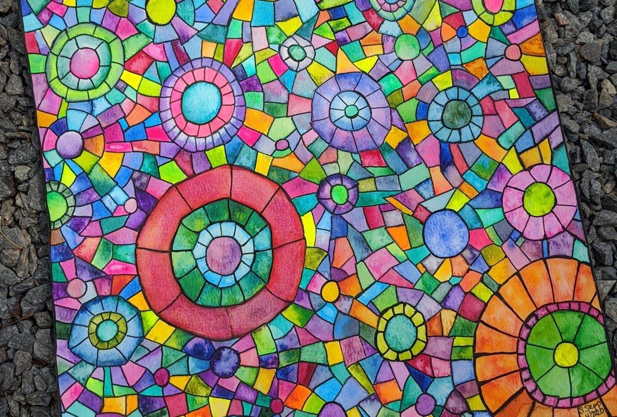 Mosaics -- Many Ways -- Seahorse, Sunset, Stained Glass Window, Yin Yang, Mermai - student project