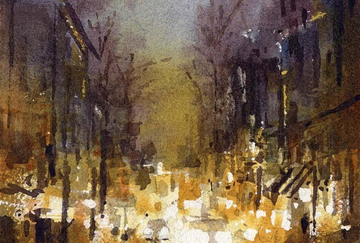Painting Cityscapes in Watercolor: From Conception to Final Painting - student project