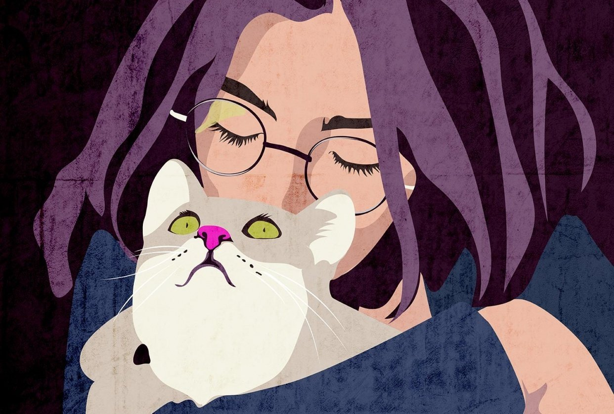 Daughter and her cat - student project