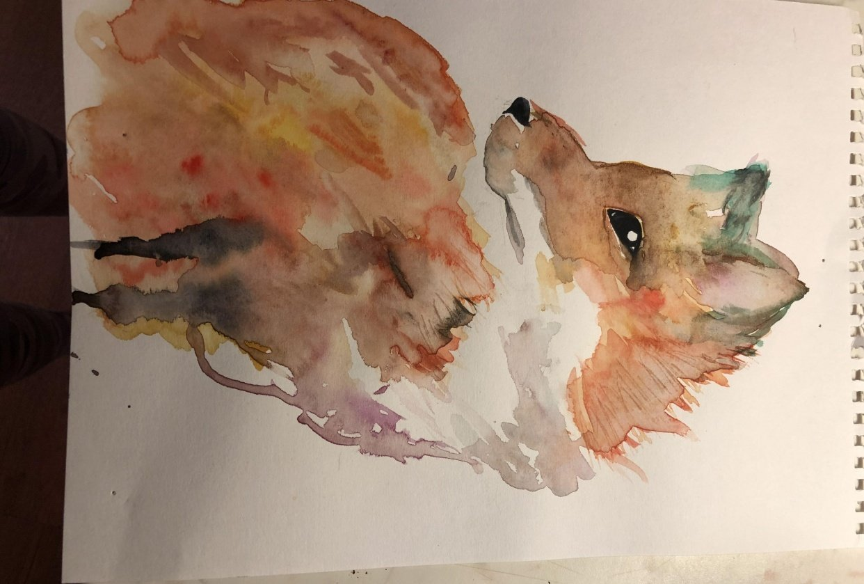 spontaneous watercolor - student project