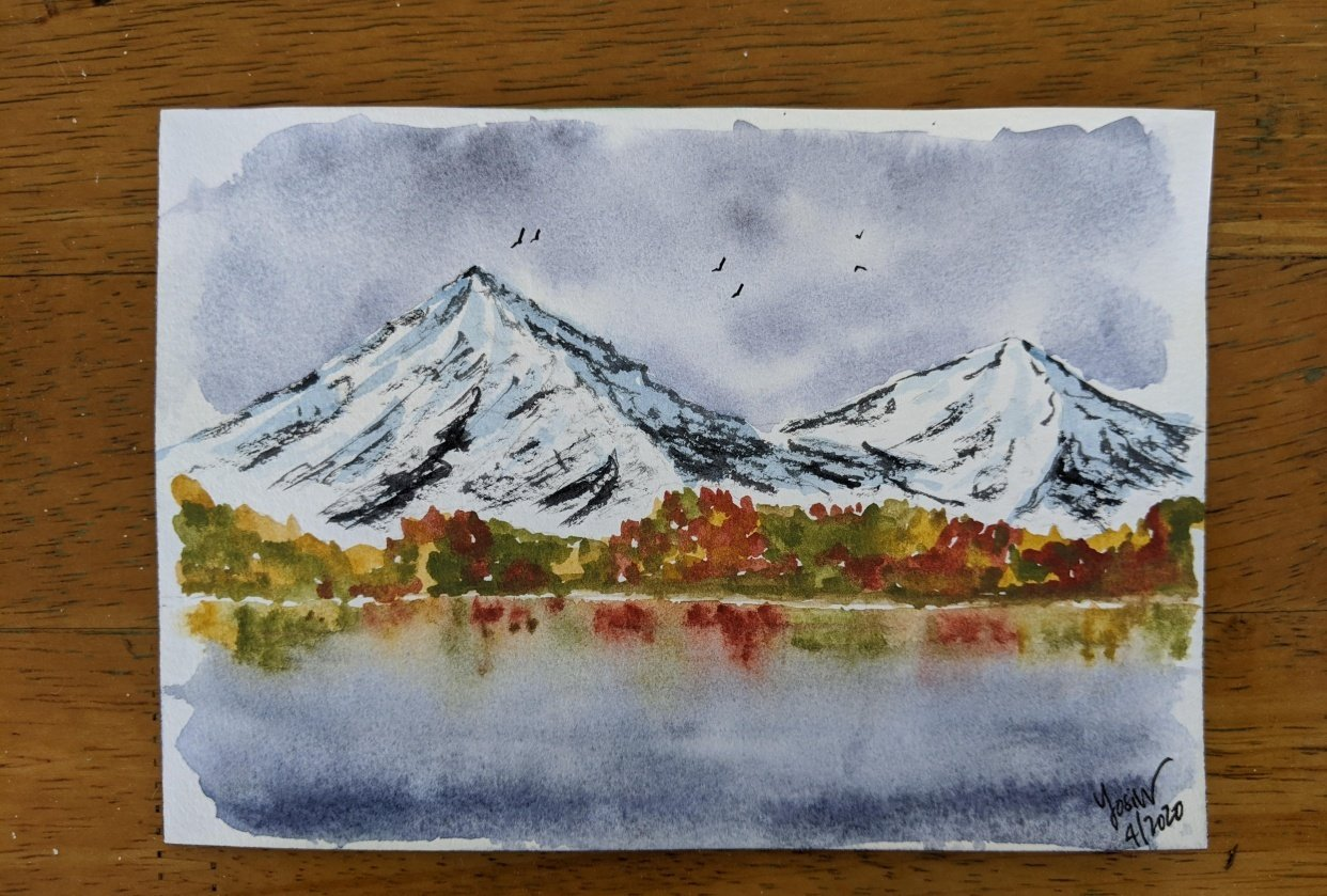 Mountain and water reflections - student project