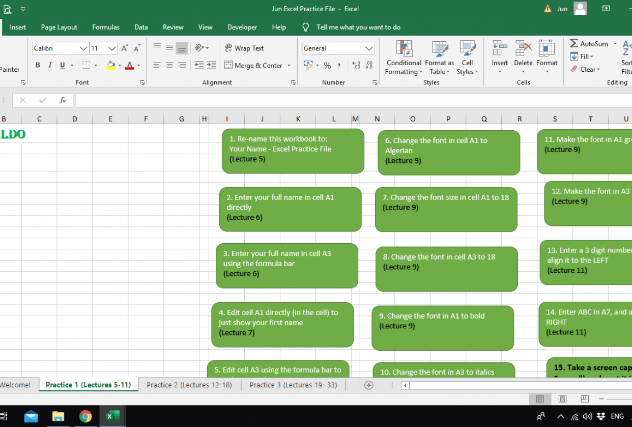 Excel Practice File - student project