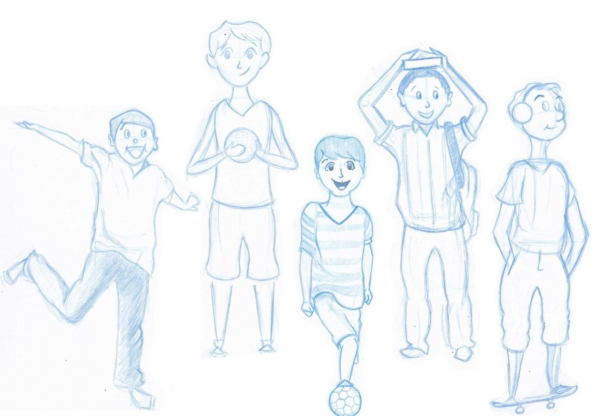 Boy Character Sketches - student project