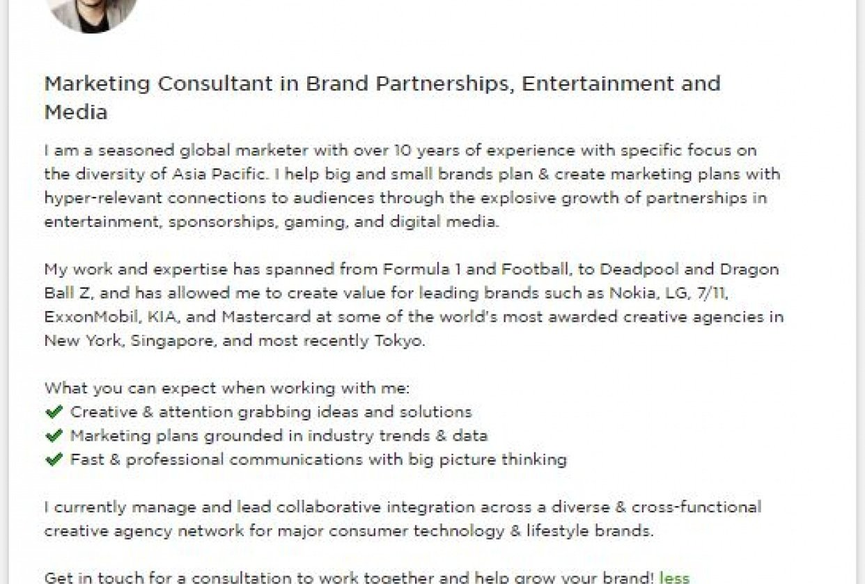 Upwork Profile / Marketing - student project
