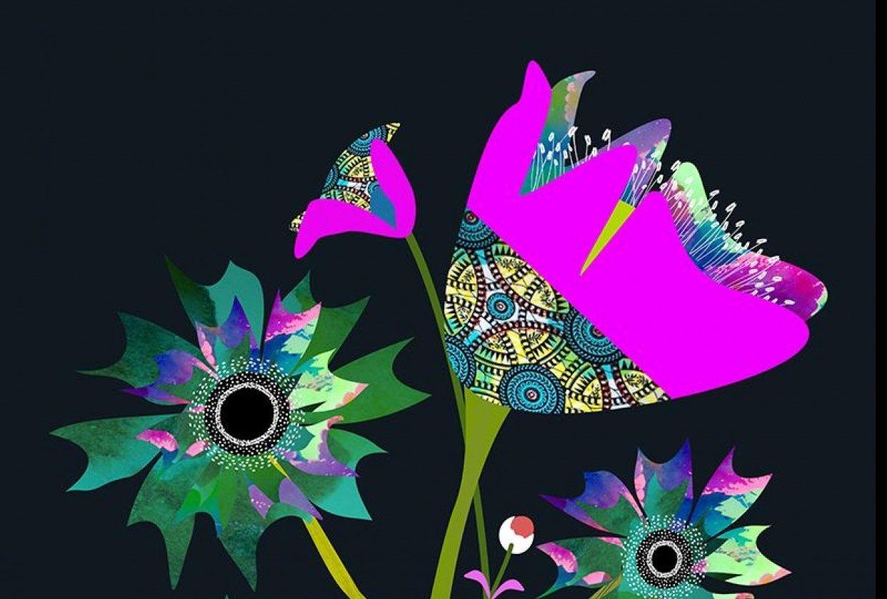 Textured Florals -Affinity Designer - student project