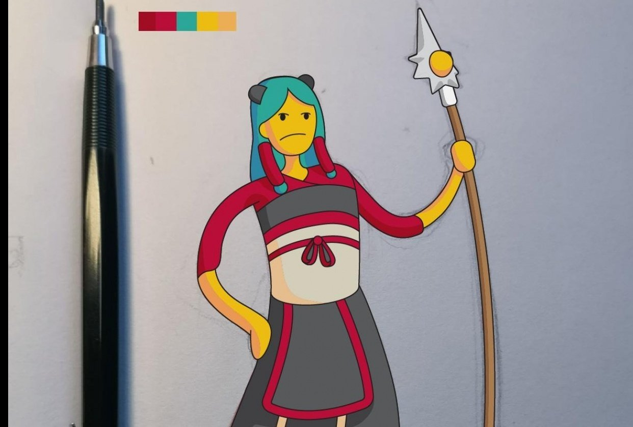 Lady Dragon Warrior [Vector Illustration] - student project