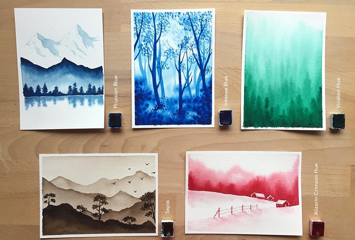 Monochrome watercolor - student project