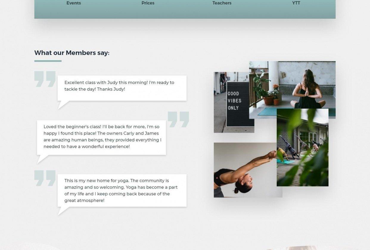 Yoga Studio Website Design - student project