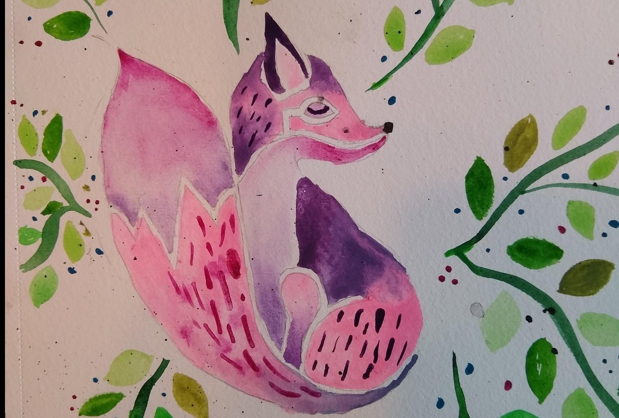 watercolor fox - student project