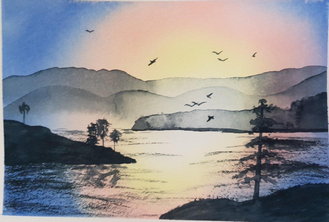 Sunset landscape - student project