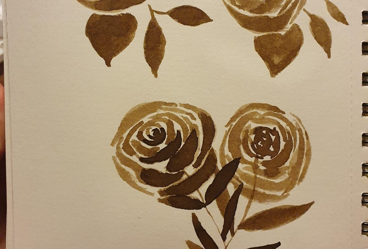 Sepia ink flowers - student project