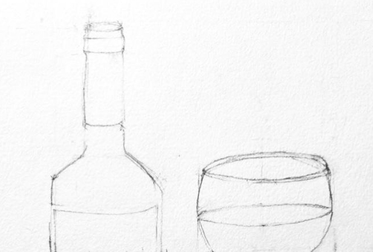 Wine glass and Bottle - student project