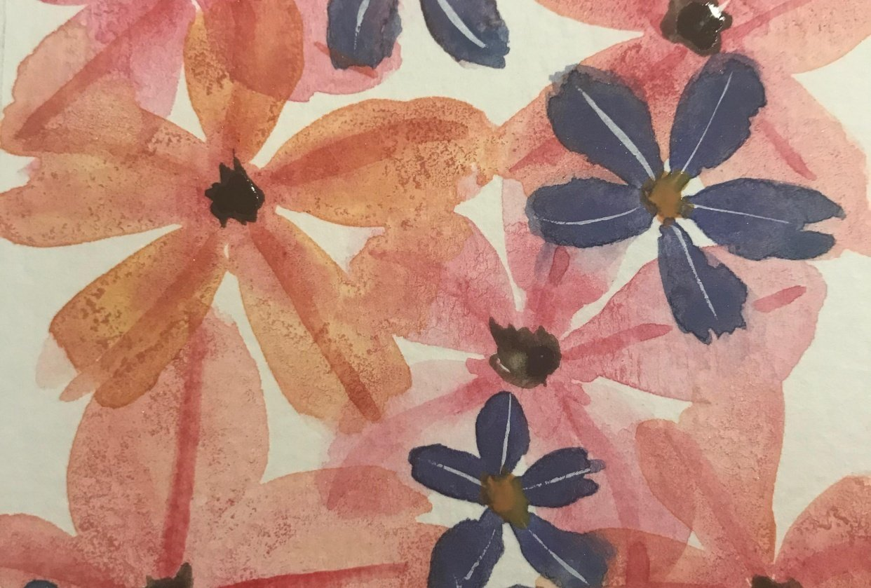 Orange Pink and Purple Flowers - student project