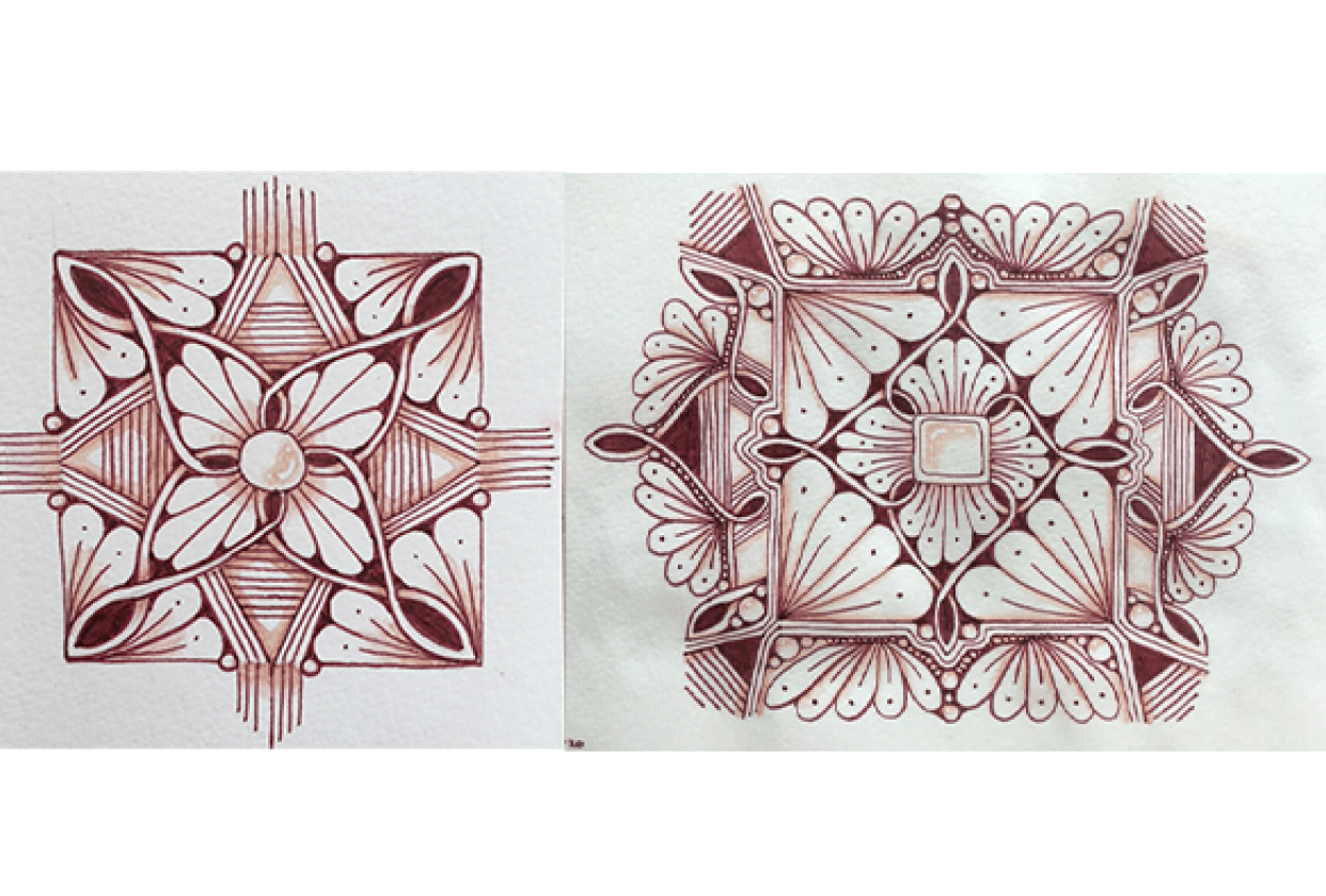 Brown mandalas with zentangle patterns - student project