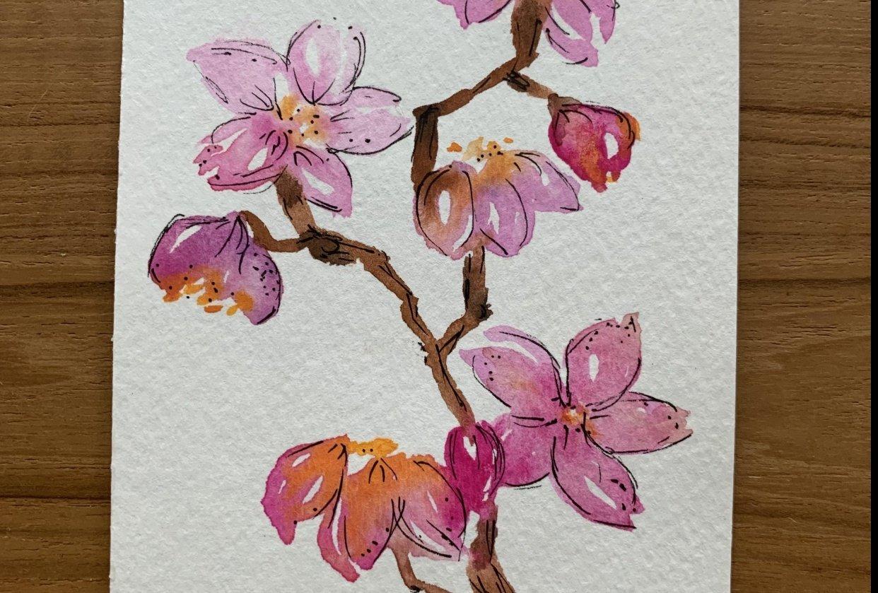 Luminous Watercolor Florals - student project