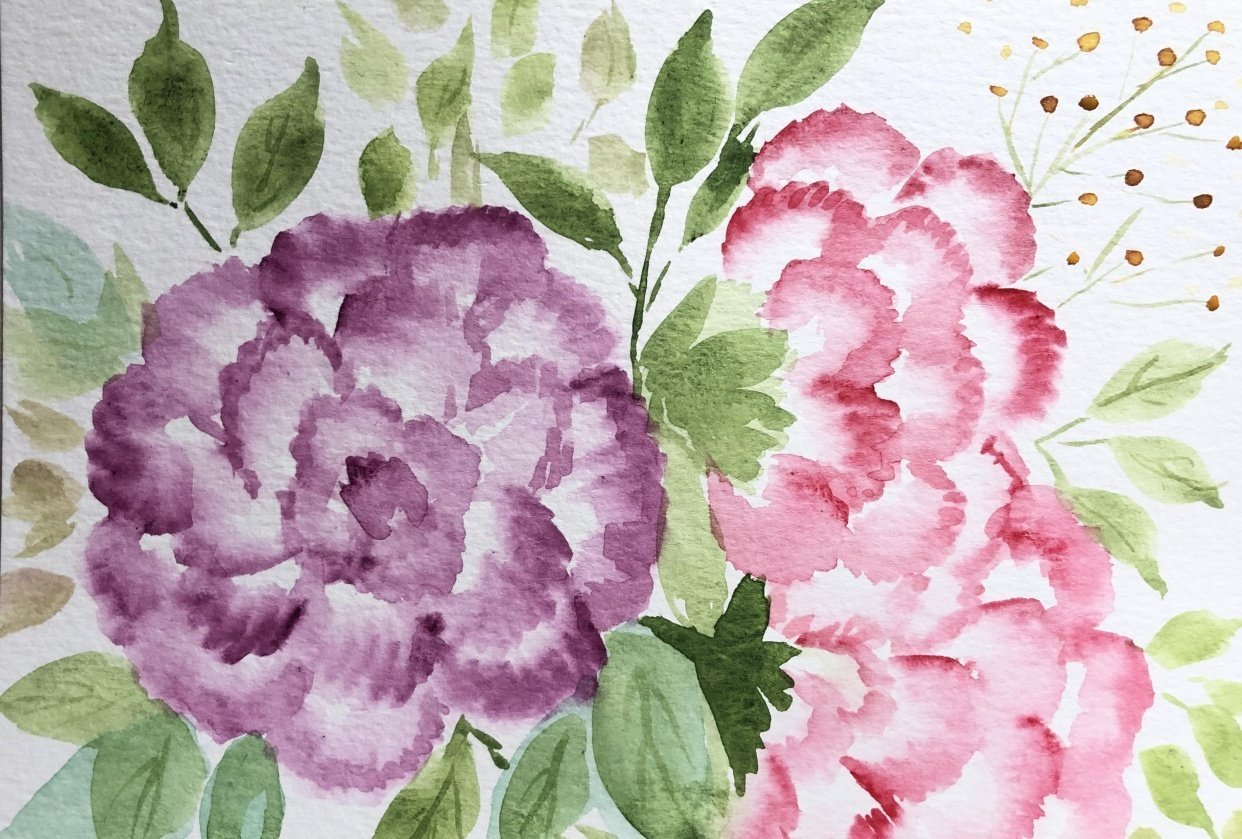 Watercolor Carnations - student project