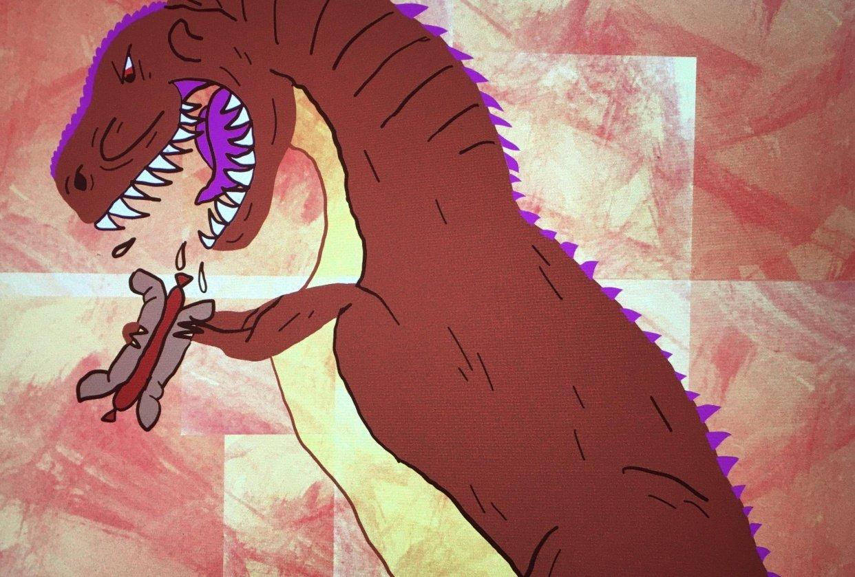 Tyrannosaurus eating hot dog - student project