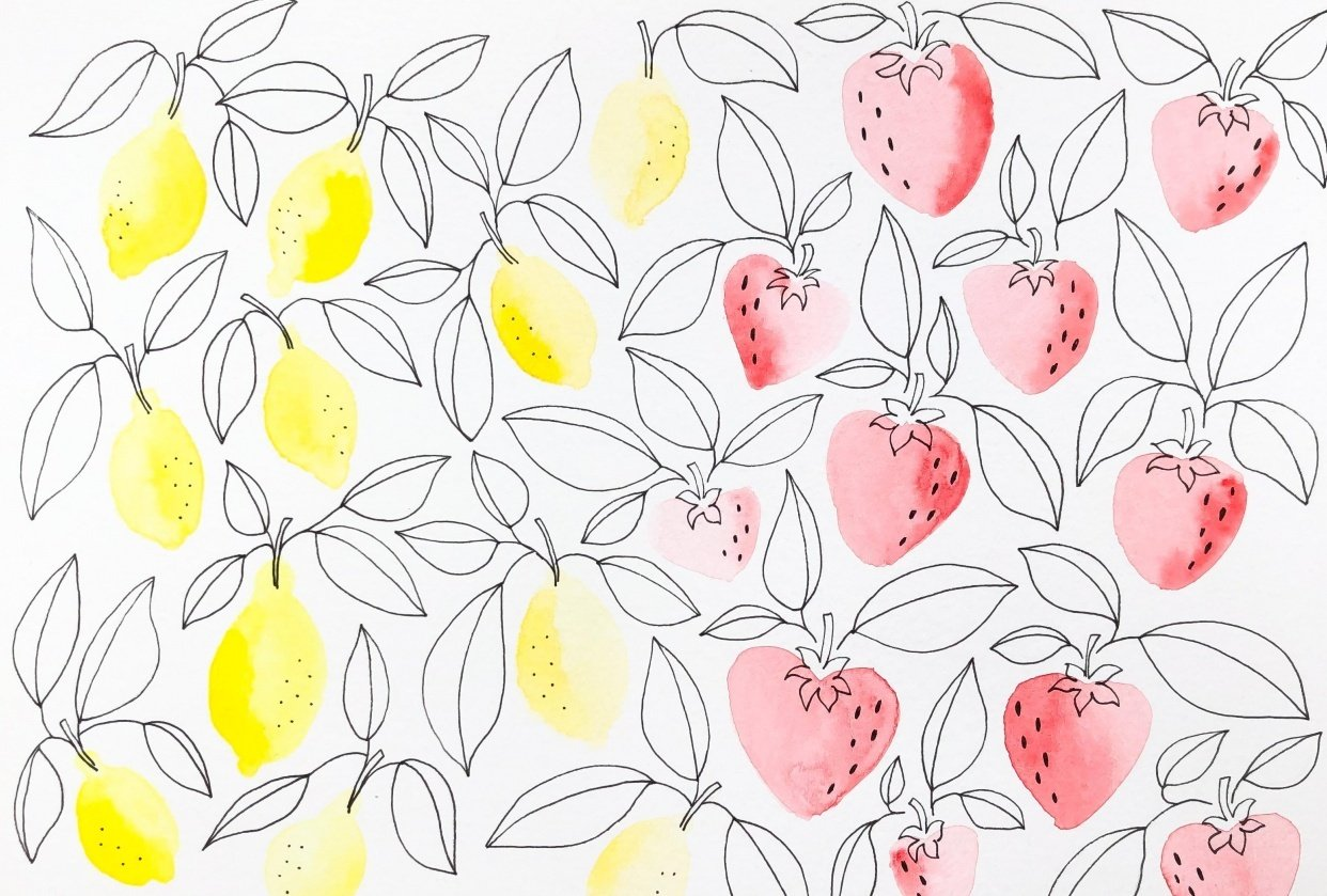 Lemons and Strawberries Pattern - student project