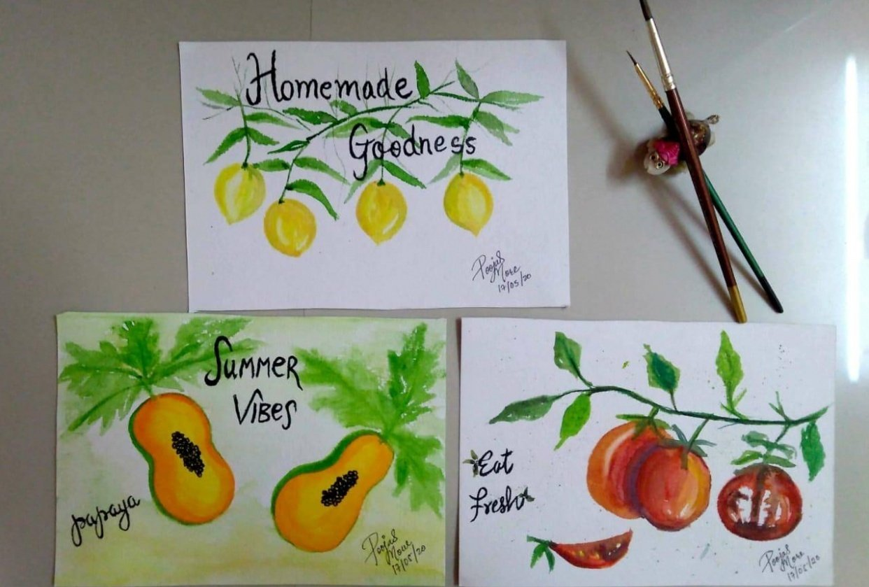 water color Fruits & Vegetables - student project
