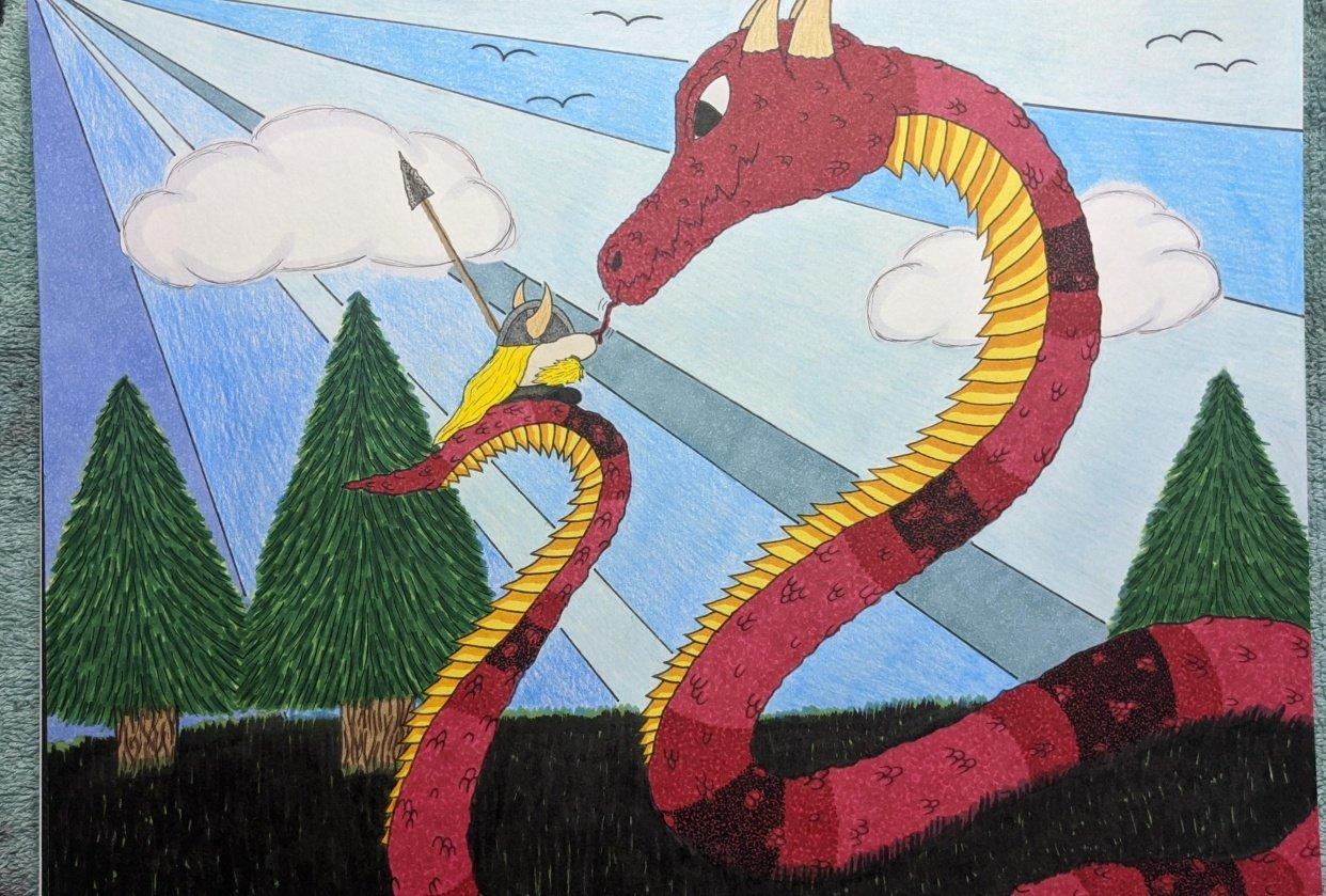 Tiny Viking vs. the Midgard Serpent - student project