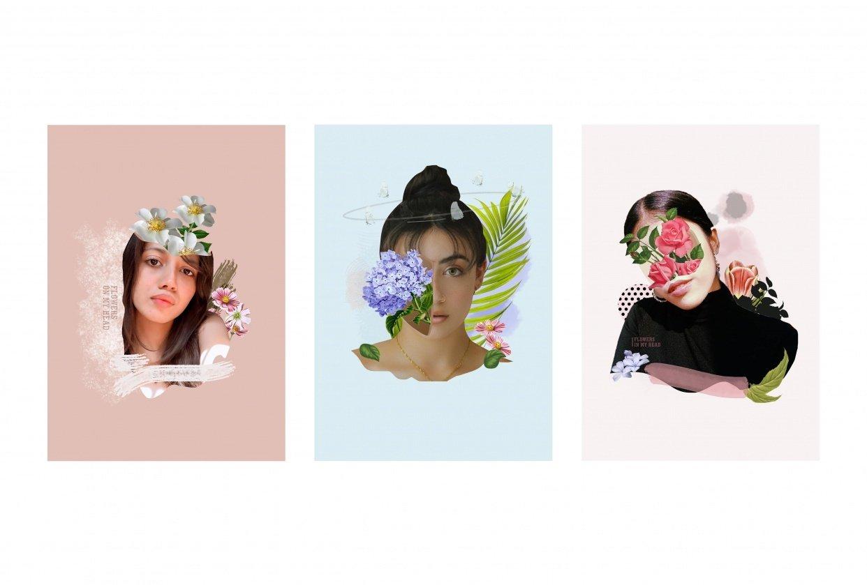Digital Collage: Floral Potrait - student project