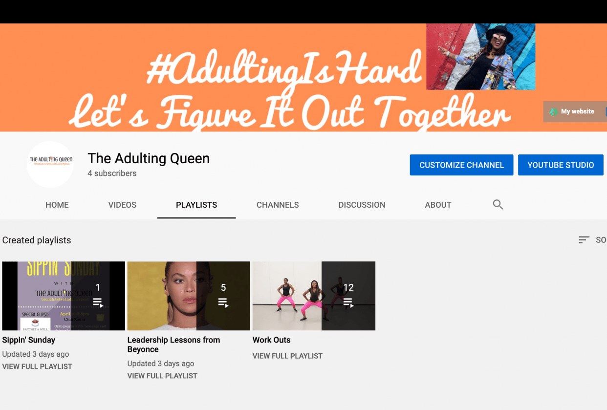 The Adulting Queen Youtube Channel - student project