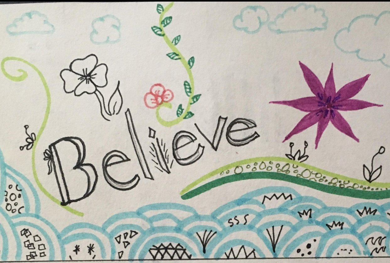 Believe colouring page - student project