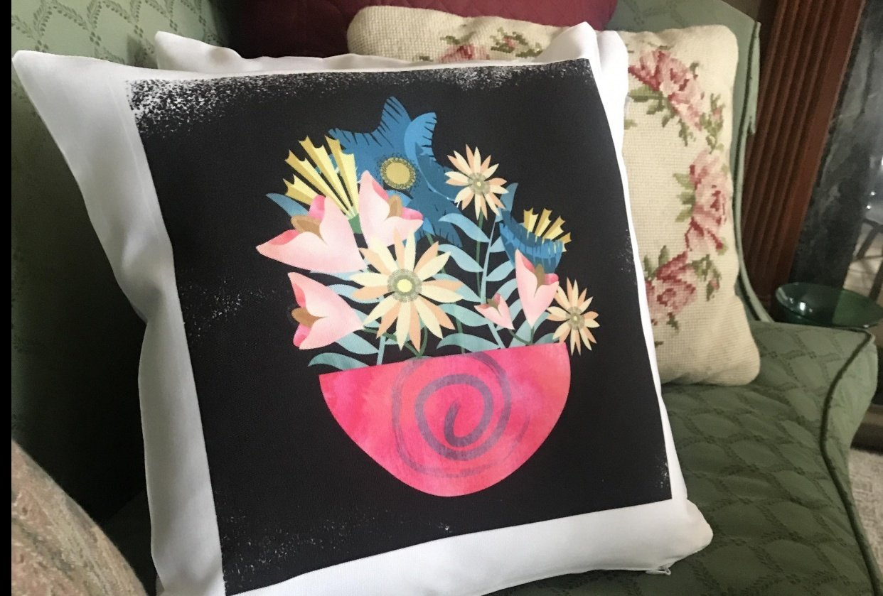 Textured Floral Pillow - student project