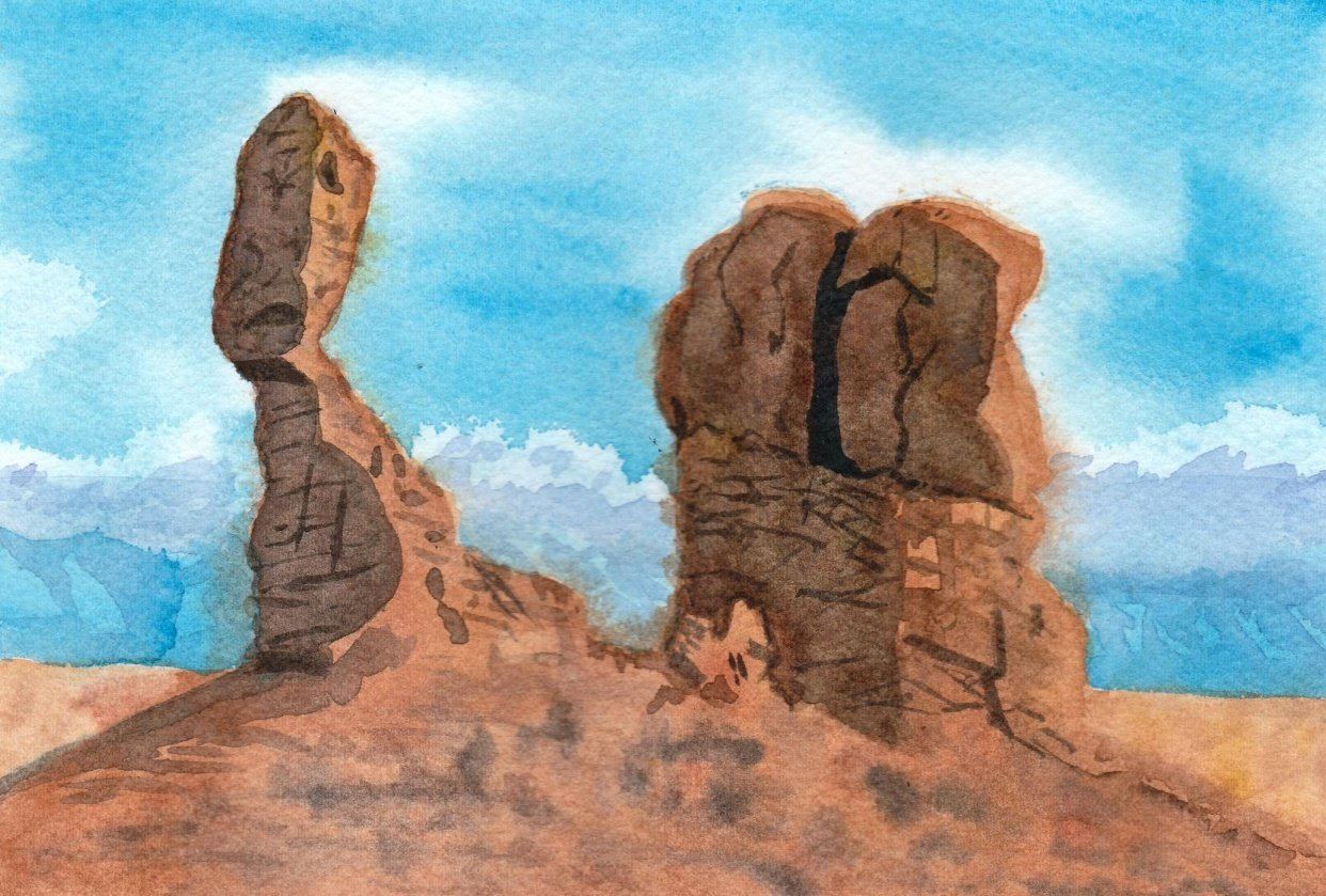 rocks in watercolor and gouache - student project