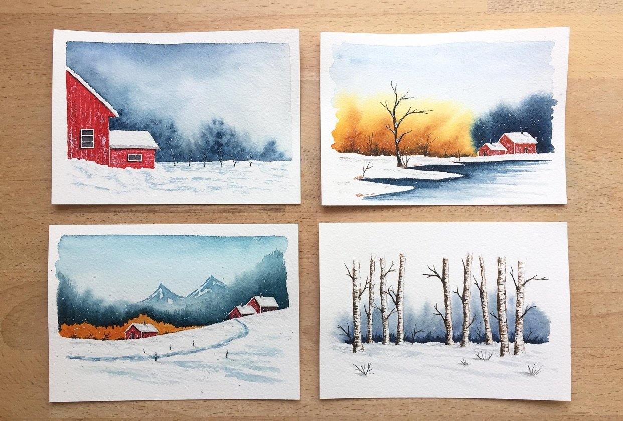 Winter landscapes - watercolor - student project