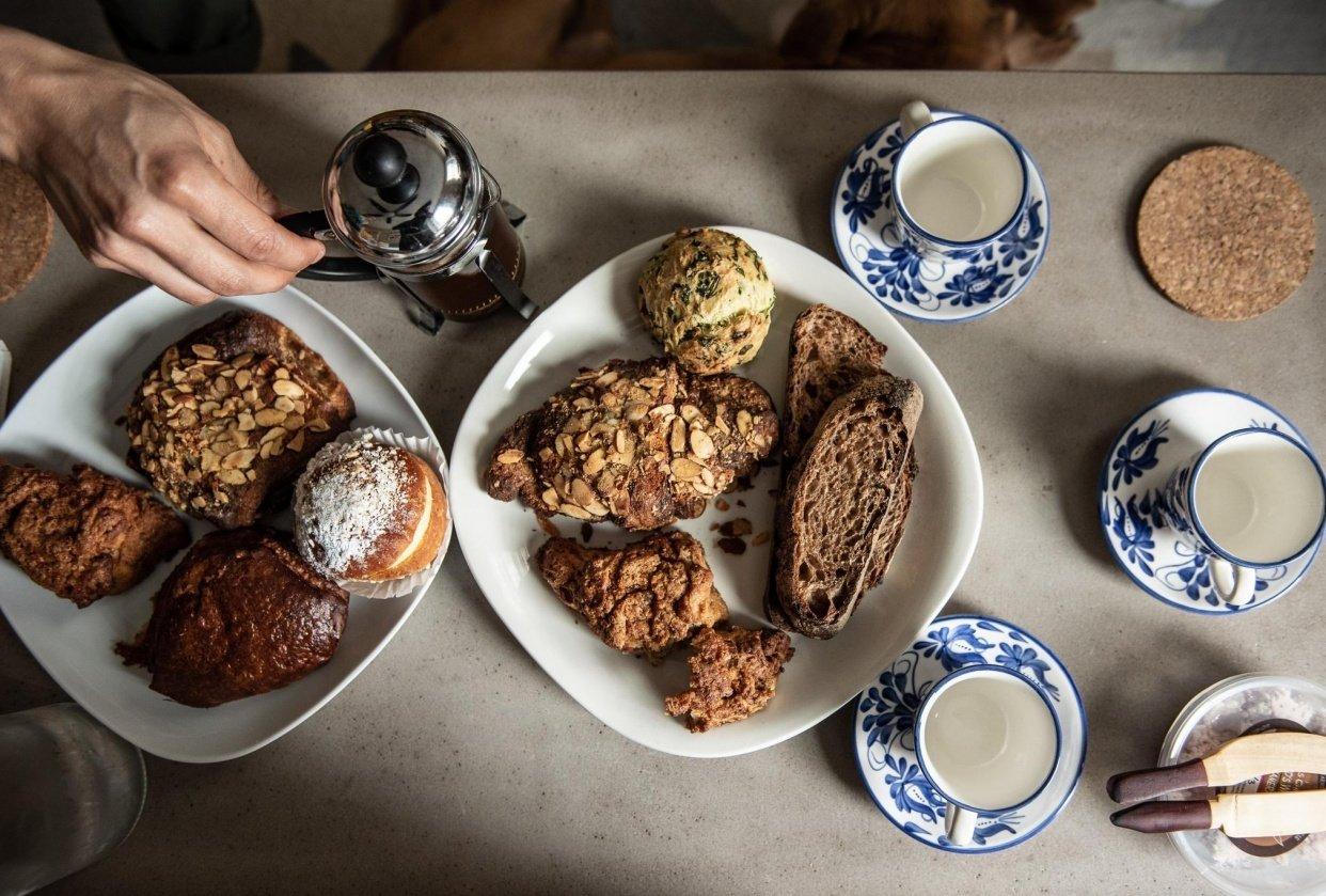 Seylou Bakery brunch after Farmers Market visit - student project