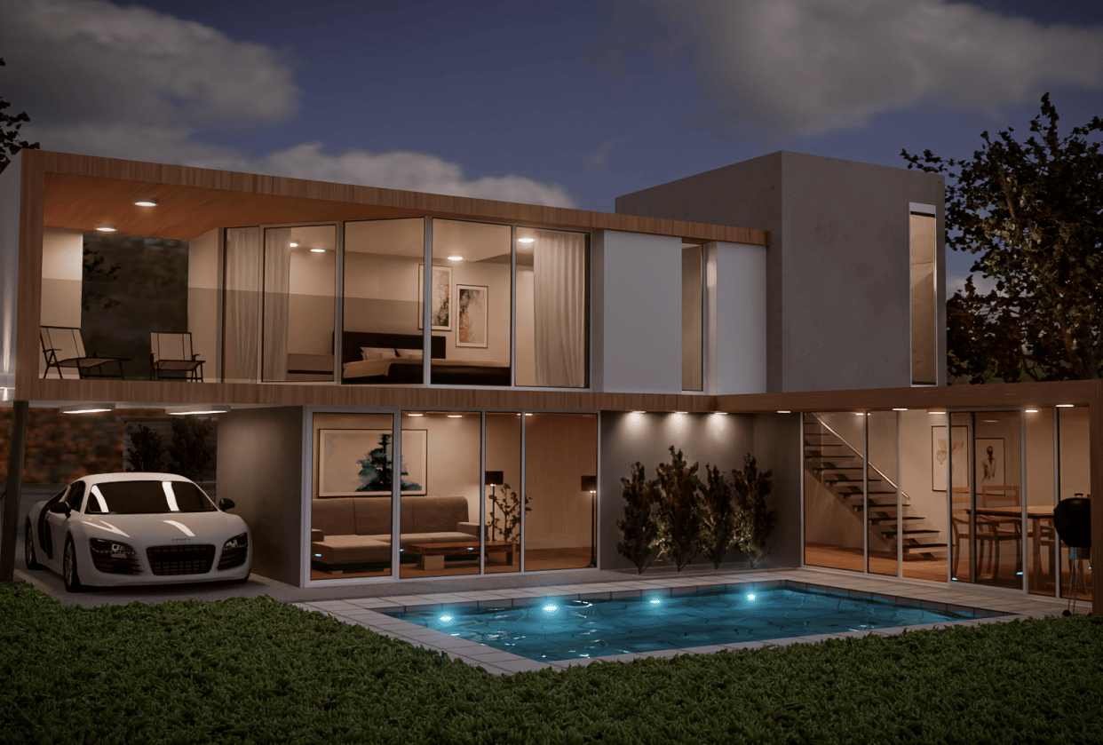 3D House in Blender - student project
