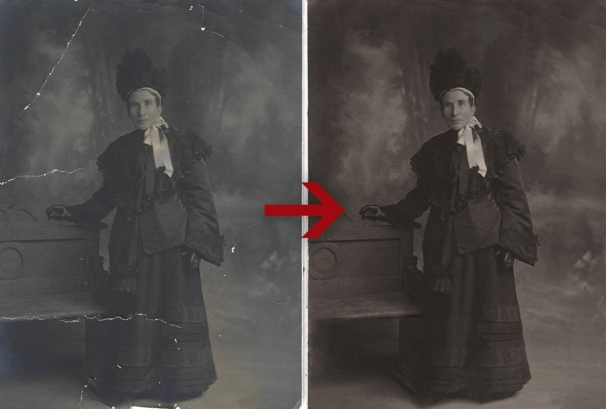 Repairing an old family photo - student project