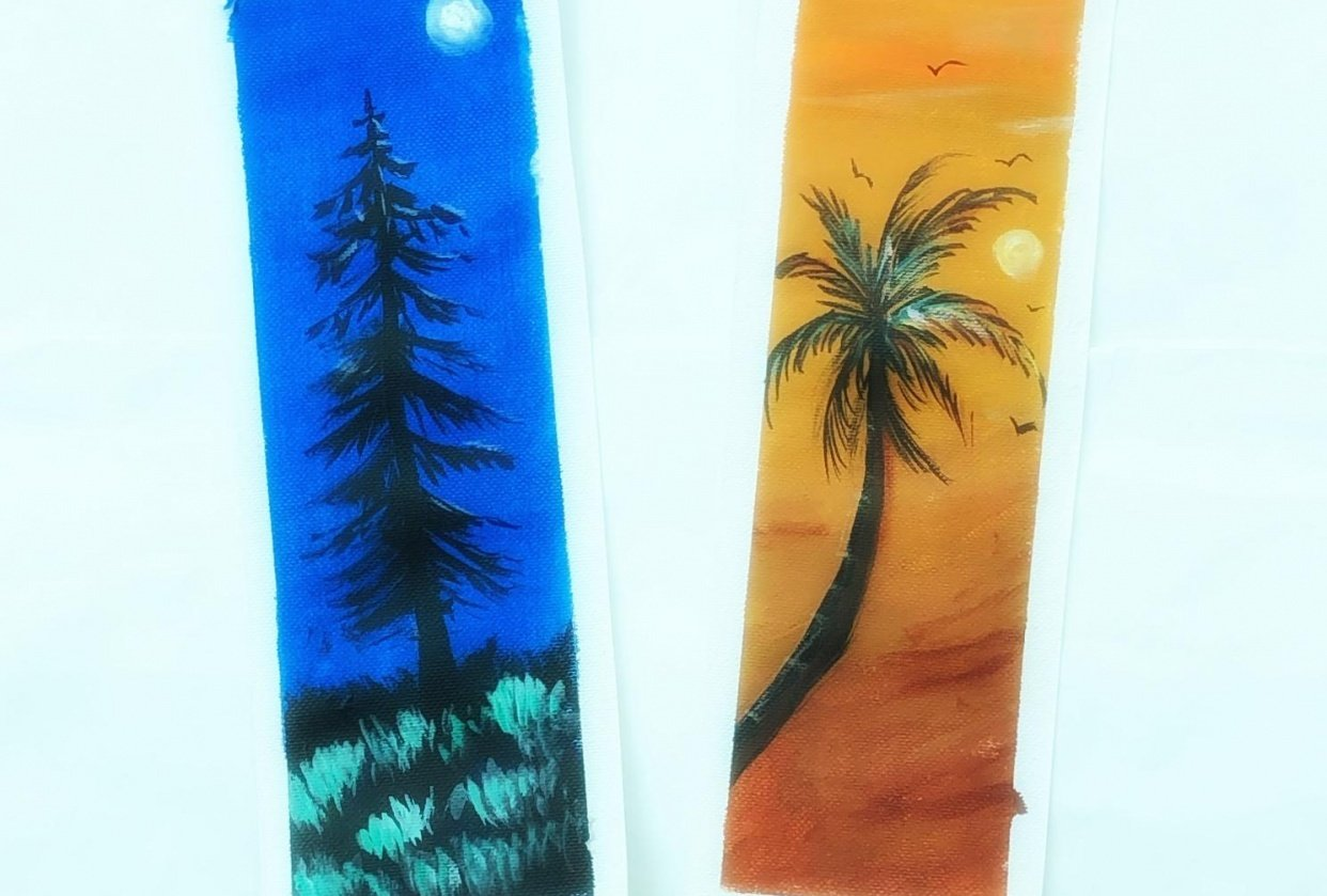 Acrylic painting-Bookmarks - student project