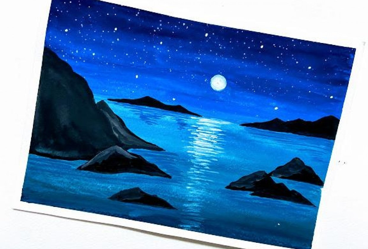 Glowing beach landscape. - student project