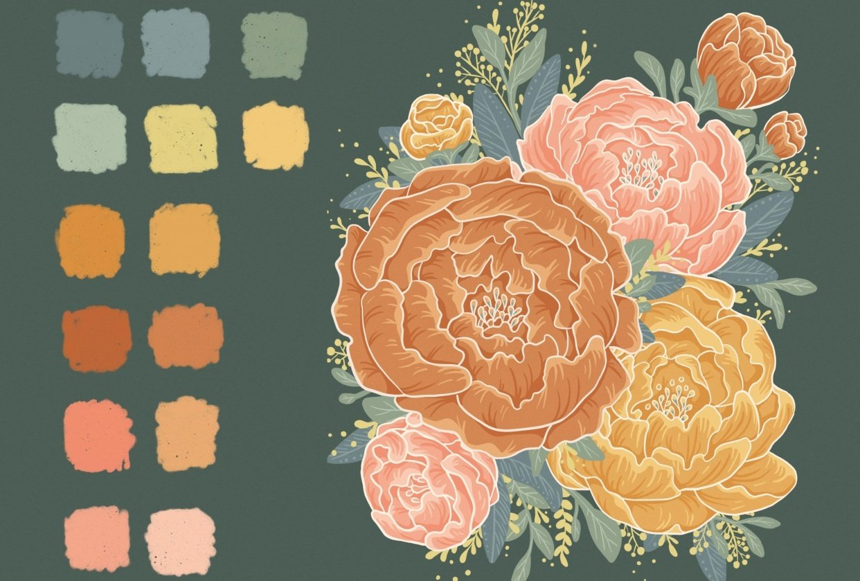 Illustrated Peonies - student project
