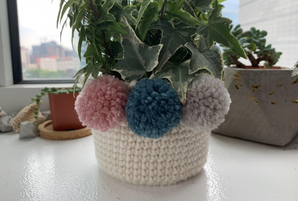Crochet a plant pot - student project