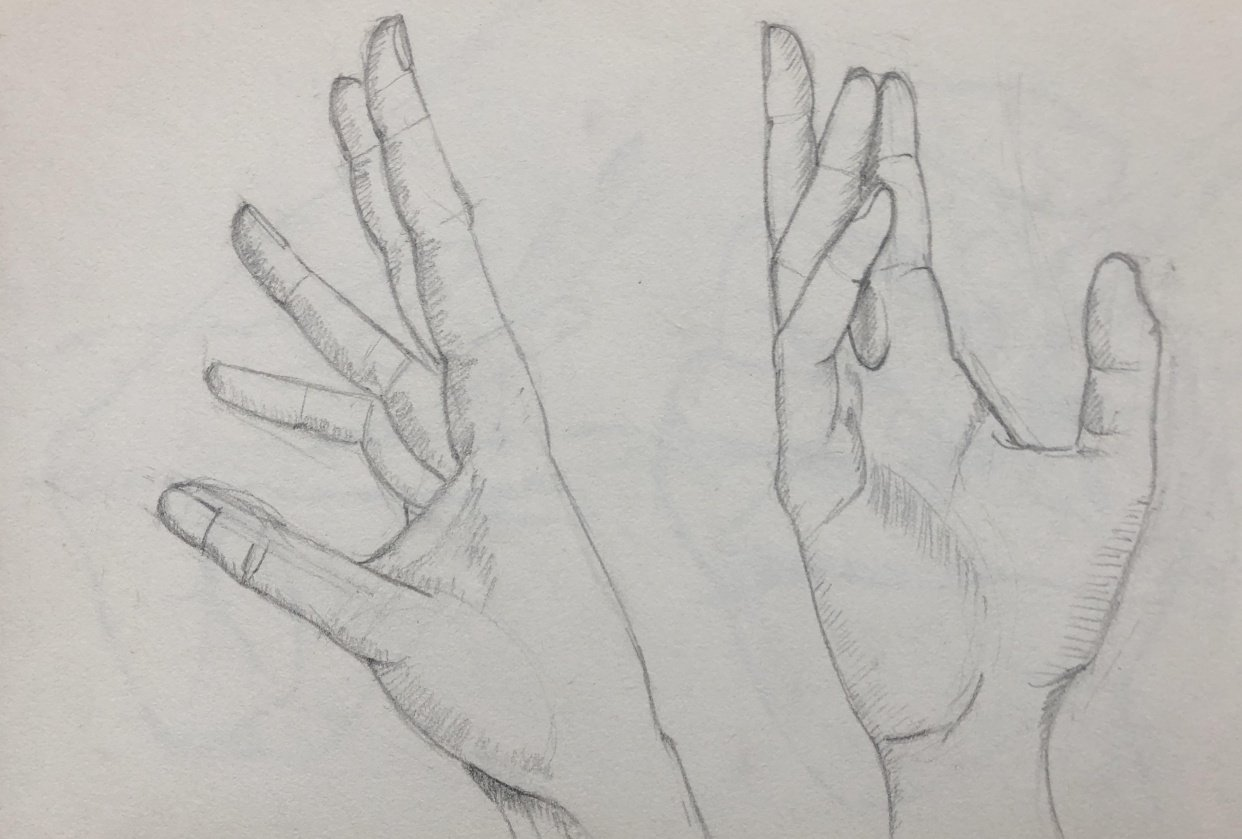 Hands sketching - student project