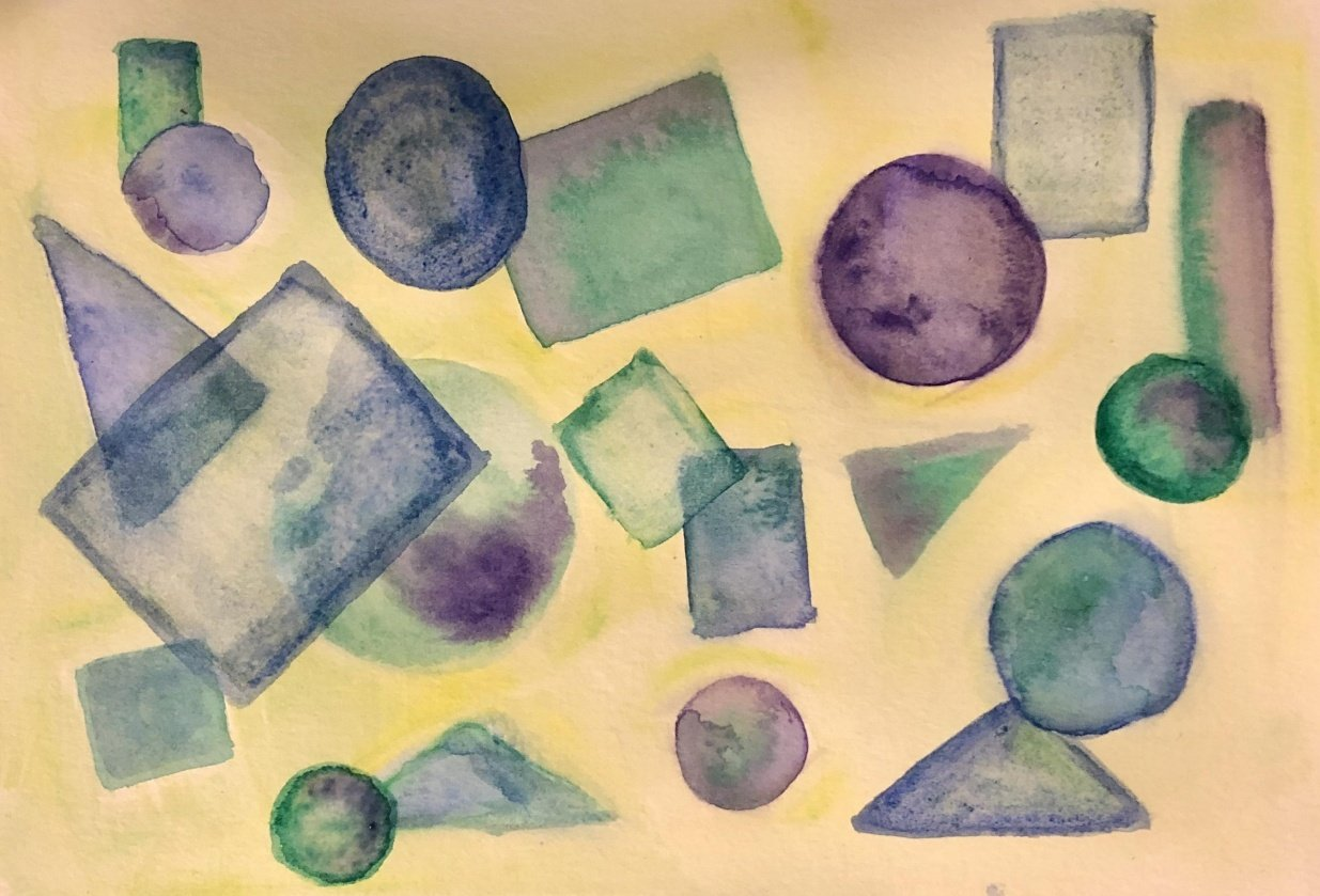 Abstract Watercolor - Shapes - student project