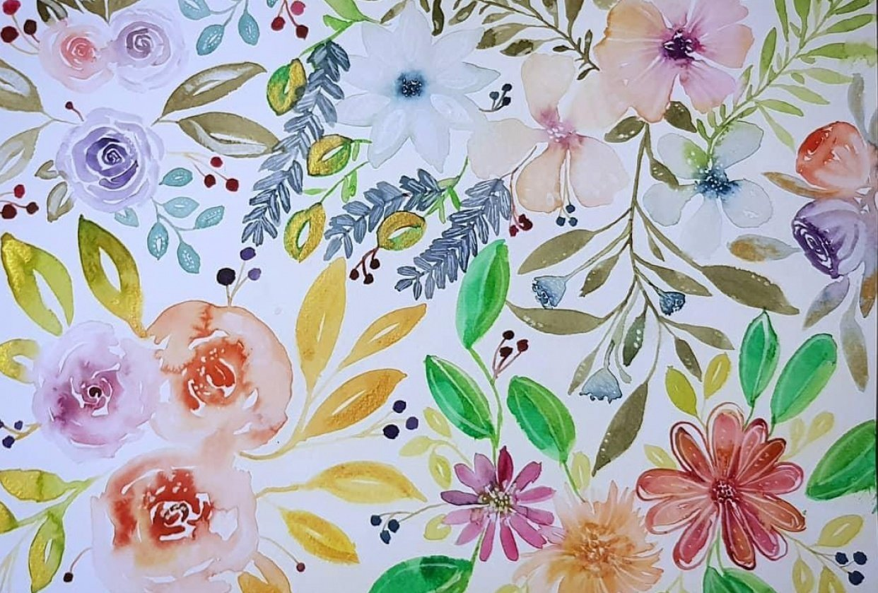 Watercolor Florals - student project
