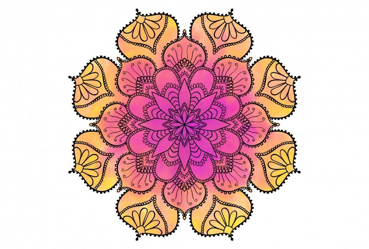 Watercolor Mandala - student project