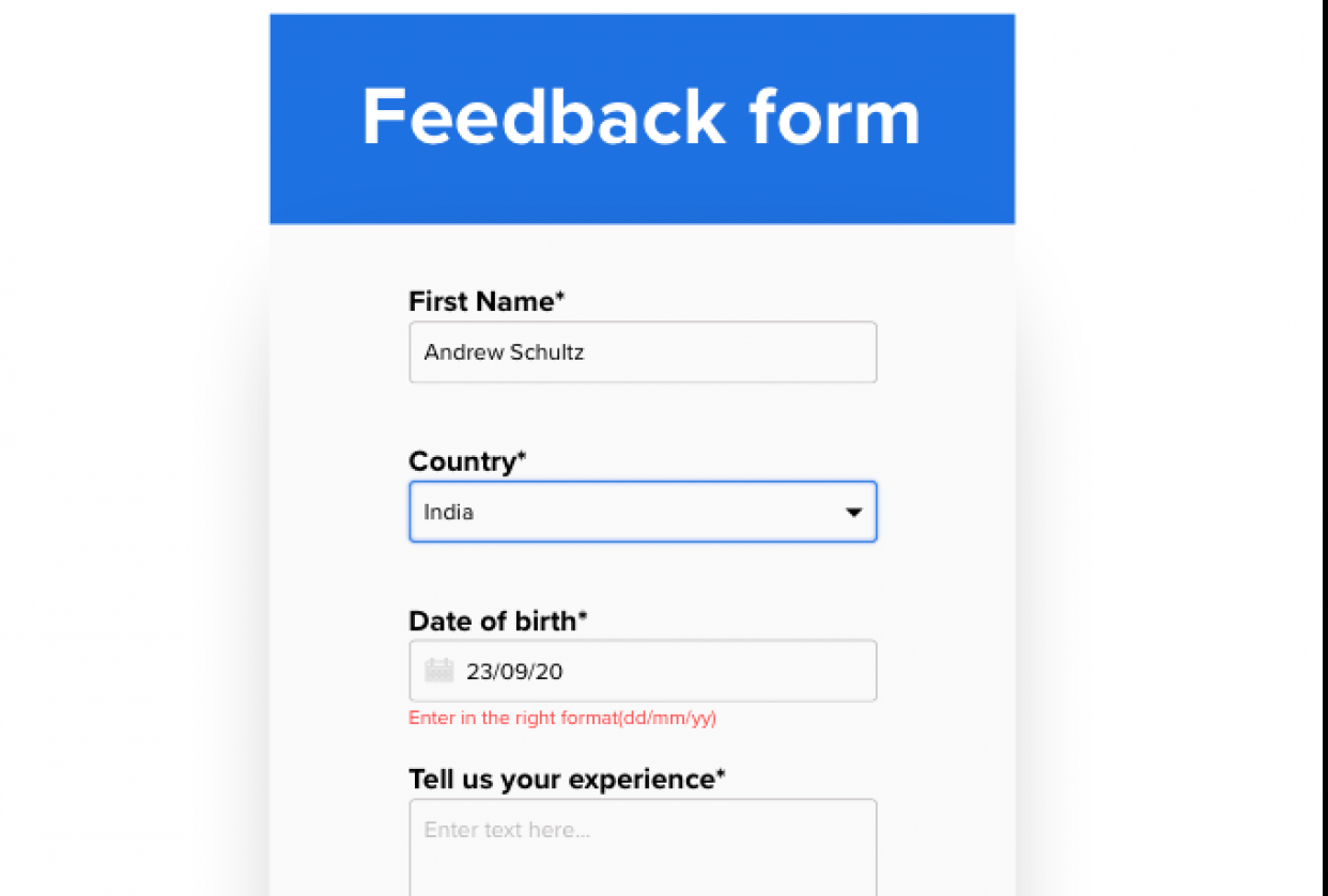 Feedback form - student project